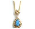 Vintage Yellow Gold Necklace with a Blue Opal Pendant
