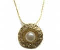 Gold Vintage Necklace with a Gold Pearl Pendant