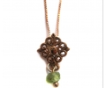 Classic Style Rose Gold Necklace with a Green Ocean Pendant