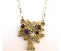 Antique Style Gold Necklace with a Pendant Comprised of a Garnet, Pearl, Amethyst and Moonstone Gemstones