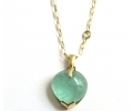 Gold Necklace with a Fluorite Gemstone Pendant