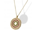 Antique Style Gold Necklace, Featuring a Pendant with Three Different Color Circles of Cubic Zirconia