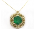 Vintage Style Gold Necklace, Featuring a Gold Ornamented Pendant with a Green Agate Gemstone