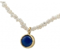 blue Lapis lazuli and gold pendant strung with pearls necklace