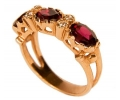 Rose Gold Vintage Ring with Red Garnets side view