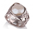 Silver Vintage Pearl Ring with an Antique Look