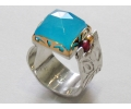 Gold and Silver Vintage Ring with Large Opal side view