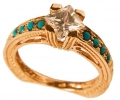 Rose Gold Vintage Cubic Zirconium Ring side view