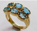 Vintage Style Gold Ring with Blue Topaz