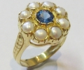 Vintage Style Gold Ring with Topaz and Pearls