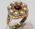 Vintage Style Gold Ring with Garnet and Pearls