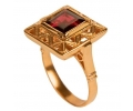 Rose Gold Vintage Ring with Red Garnet side view