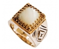Vintage Style silver and Gold Ring with mother of pearl ring Side View
