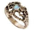Vintage Style Silver Ring with Opal Gemstone side view
