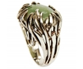 Silver Vintage Ring with Aventurine Stone side view