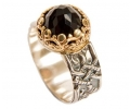 Gold & Silver Onyx Vintage style Ring side View