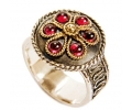Gold and Silver Vintage Ring with Six Garnets side view
