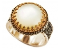 Mother of Pearl Gold & Silver Vintage Ring side view