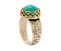Gold and Silver Vintage Style Ring with Amazonite