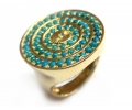 Gold Vintage Ring with Turquoises