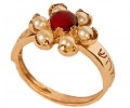9k Gold Vintage Ring with Red Garnet side view