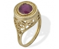 Vintage Rococo gold ring with Ruby - side view2