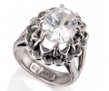 Vintage Silver and Zircon Ring side view
