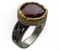 Gold and Silver Ring with Ruby