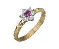 Gold Vintage Style Diamond Ring with a Tourmaline Gemstone
