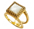 14k Gold Vintage Ring with Pearl side view