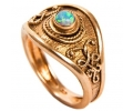 14k Vintage Gold Ring with Opal Gemstone Side View