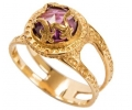 14K Gold Vintage ring with Amethyst - side view