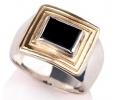 Antique Lookign Gold and Silver Ring with Onyx Side View