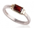 Vintage Style Designer Gold Ring with Ruby side View