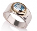 Antique Style Gold and Silver Ring with Topaz Side View