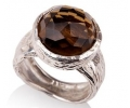Antique Looking Smokey Topaz and Carved Silver Ring Side View
