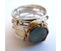 Antique style aquamarine stone round shaped ring