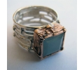 Antique style aquamarine stone square shaped ring