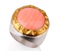 Vintage Designer Ring with Cabochon Cut Coral Side View