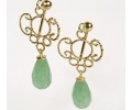 Vintage Style Gold and Aventurine Earrings