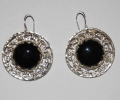 Vintage Silver Earrings with Large Onyx Gemstone