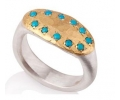 Antique Looking Designer Ring with Turquoise Gemstones Side View