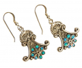 Antique Looking Silver Earrings with Opal Side View