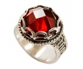 Silver Vintage Style Ring with Red Zircon side view