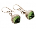 Antique Looking Vintage Silver Earrings with Zircon Side View