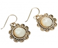 Antique looking Vintage Silver Earring with Motehr of Pearl Side View