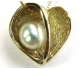 Elegant Style Yellow Gold Necklace with a Heart Shaped Pearl Pendant, Close-up
