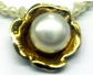 Vintage Style Pearl Necklace Featuring a Gold Ornamented Pearl Pendant, Close-up