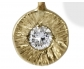 Antique Style Gold Necklace Featuring a Gold Ornamented Dianmond Pendant, Close-up