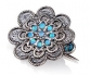 Silver Vintage Style Brooch with 8 Opals front view